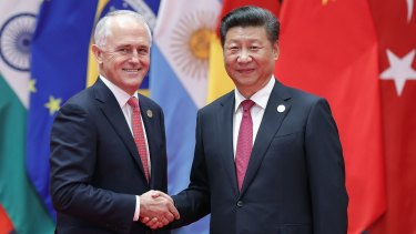 Chinese President Xi Jinping (right) shakes hands with Prime Minister Malcolm Turnbull at the G20 Summit in September.