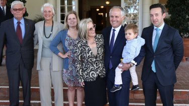 Prime Minister Malcolm Turnbull with daughter Daisy and Lucy Turnbull at his swearing in.