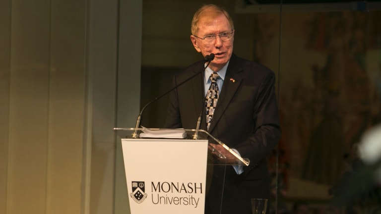 Former High Court justice Michael Kirby delivers the 2017 Richard Larkins Oration at Melbourne's Myer Mural Hall on October 4.
