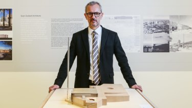 Michael Brand, director of the Art Gallery of NSW, with designs on display for the Sydney Modern project.