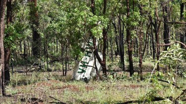 More wreckage from the light plane crash is seen on the remote Northern Territory road.