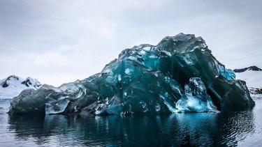 Vivid blue: A flipped iceberg at Cierva Cove on the Antarctic Peninsula.