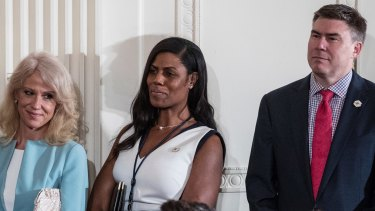 Counselor to the President Kellyanne Conway, White House Director of communications for the Office of Public Liaison Omarosa Manigault, and White House Communications Director Mike Dubke.