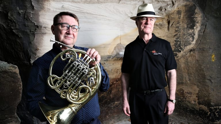 Sydney Symphony Orchestra principal horn Rob Johnson with conductor David Robertson.