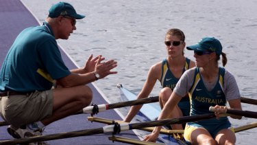 Back in the fold: Harald Jahrling instructs Virginia Lee and Sally Newmarch during the 2000 Olympic Games.