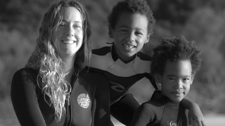Transcending boundaries: Katie Grubb with students Malaika and Amani Okoth.