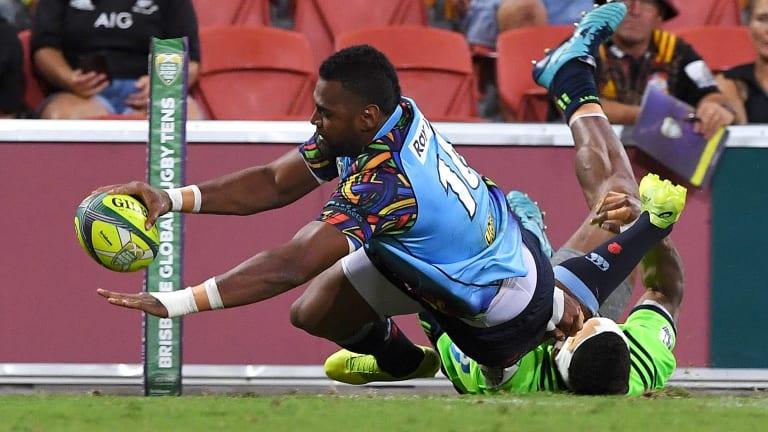 Power ranger: Taqele Naiyaravoro goes over in the corner in the Global Rugby Tens in Brisbane.
