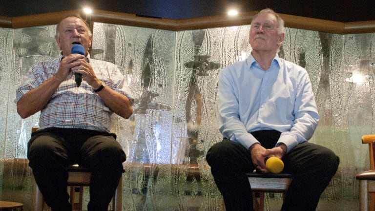 Former Test cricket captain Ian Chappell ( Right) and Doug Walters at the Queensland Cricketers Club.