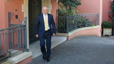 Malcolm Turnbull leaving his point Piper home on Sunday morning.