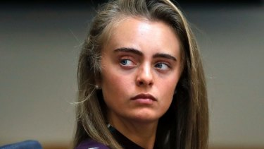 Michelle Carter listens to testimony at Taunton District Court in Taunton, Massachusetts.