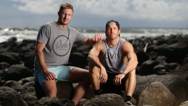 Casey Lyons, left, and Sam Webb together started a group called 'Livin'' after one of their mates committed suicide.