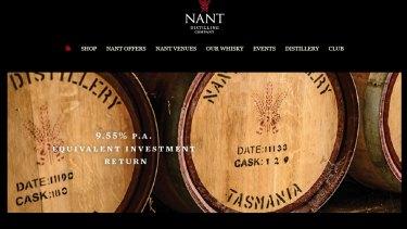 The webpage for Nant Distilling Company in Tasmania in 2016, promoting the barrel buyback scheme.