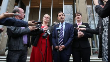 Greens Senator Janet Rice with MP Alex Greenwich and  Human Rights Law Centre lawyer Anna Brown outside the Law Courts in Sydney where they have lodged a case against the federal government regarding same-sex marriage.