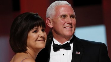 Vice-President Mike Pence dances with his wife Karen at the Liberty Ball on day of inauguration in Washington.