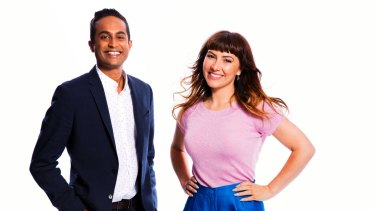 Perfectly agreeable: Ella Hooper and News 24 presenter Jeremy Fernandez hosted the ABC New Year's Eve telecast.