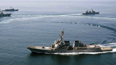 The US Navy guided-missile destroyer USS Lassen, which in October sailed near Subi Reef, one of several artificial islands that China has built in the disputed Spratly Islands chain in the South China Sea.