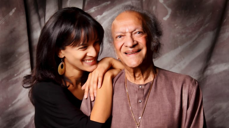 Anoushka Shankar with her father Ravi Shankar before his death in 2012.