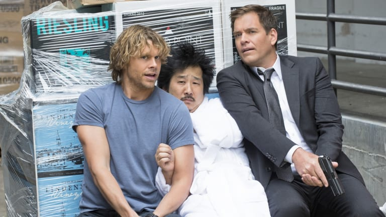 Bobby Lee, Eric Christian Olsen, and Michael Weatherly in <i>NCIS: Los Angeles</i>, the spin-off show created by Brennan in 2009.