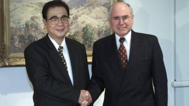 Li Peng, then chairman of the Chinese parliament, visits John Howard in Canberra in September 2002.