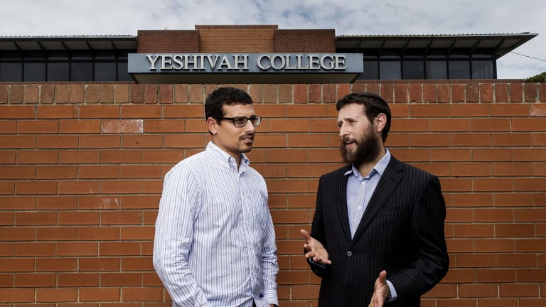 Advocate and abuse victim Manny Waks (left) with Yeshivah spokesman Yechiel Belfer on Sunday.