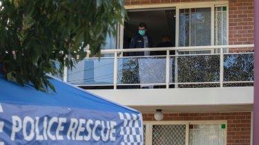 Bomb squad officers and heavily armed police searched a unit on Sproule Street, Lakemba, following the arrest of four men.