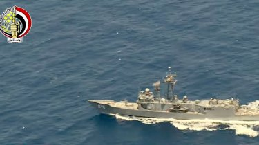 An Egyptian ship searches in the Mediterranean Sea for the missing EgyptAir flight 804, which crashed after disappearing from radar on Thursday.