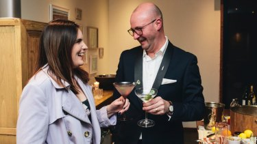 Canberra Times reporter Katie Burgess with 'martini whisperer' Phillip Jones at Pialligo Estate.