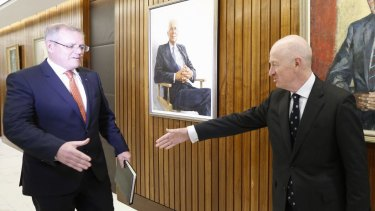 Federal Treasurer Scott Morrison and RBA Governor Glenn Stevens at a meeting at the Reserve Bank in September. Will there be a showdown next week?
