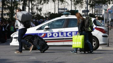 Passengers are stopped from entering Marseille's Saint-Charles training station.