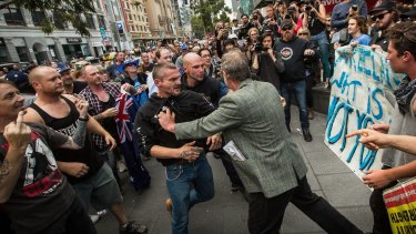Fights broke out between Reclaim Australia members and Rally against Racism protesters in Melbourne in April.