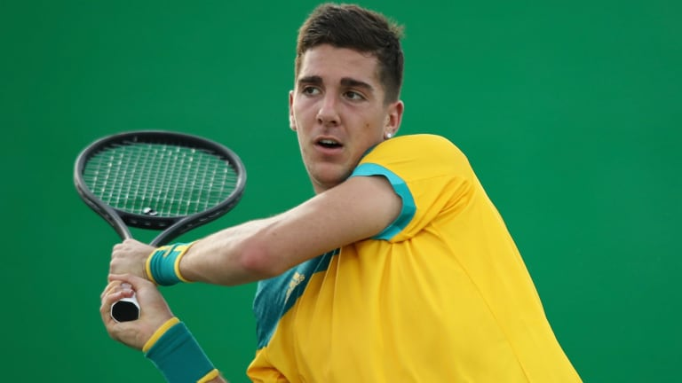 Highlight of the year: Thanasi Kokkinakis in action against Elias Gastao of Portugal at the Rio Olympics.