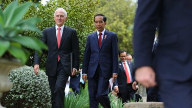 Prime Minister Malcolm Turnbull with Indonesian President Joko Widodo at Admiralty House in Sydney in February.