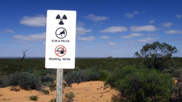 One of the new warning signs erected at the former nuclear bomb testing site in the north west of South Australia.