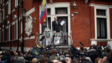 Julian Assange speaks from the balcony of Ecuador's London embassy following the release in February of a United Nations report on his situation.