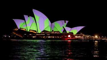 The Sydney Opera House lights up on the opening night of Vivid in 2015.
