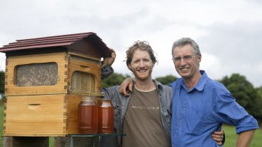 Father and son Stuart and Cedar Anderson with their invention the Flow Hive, which has been  patented around the world.