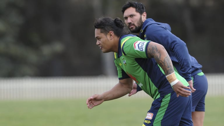 Leilua and Jordan Rapana at training shortly after Leilua arrived from Newcastle