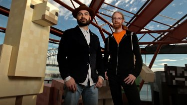 Minecraft chief operating officer Vu Bui with Jens Bergensten, lead Minecraft creative at Mojang, are hosting Australia's first live Minecraft competition at the Sydney Opera House.