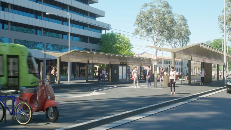 An artist's impression of the Capital Metro Gungahlin tram line showing the light rail stations.