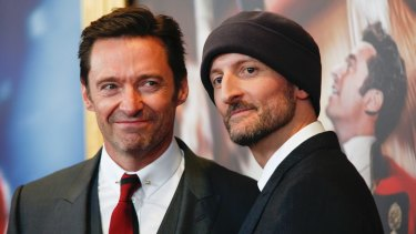 Hugh Jackman and Michael Gracey at  the world premiere of The Greatest Showman on board the  Queen Mary 2 in New York earlier this month.