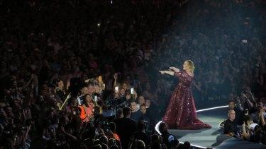 Adele in concert at Etihad Stadium on Saturday night.