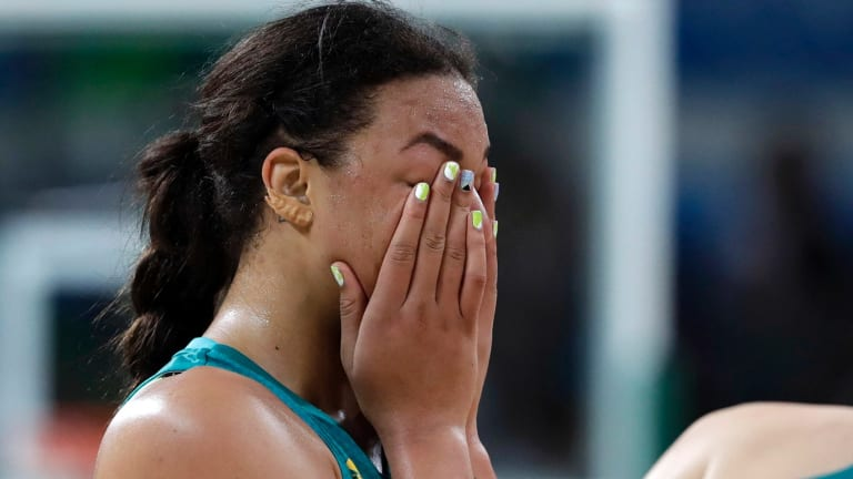 Australia's Elizabeth Cambage reacts after the team's loss to Serbia in the basketball  quarterfinal.