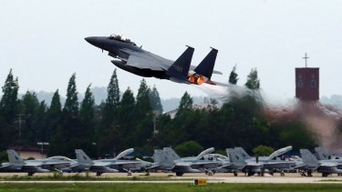 A South Korean Air Force fighter jet takes off from an air base as South Korea and the United States conduct the Max Thunder joint military exercise in Gwangju, South Korea, on May 16.