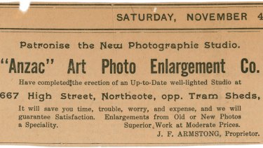 The Anzac Art Photo Enlargement Co in  Northcote was the first to be charged.