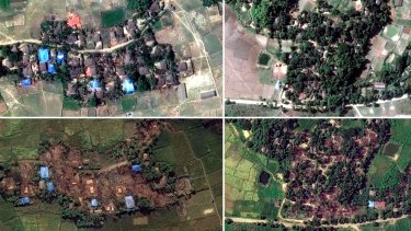 Handout satellite images of two villages in Rakhine state, Myanmar, before and after they were destroyed: Kyet Yoe Pyin is shown at left on March 30 and November 10, 2016, and Wa Peik in 2014 and on November 10, 2016.