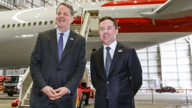 Alan Joyce, right, with American Airlines boss Doug Parker in 2015.