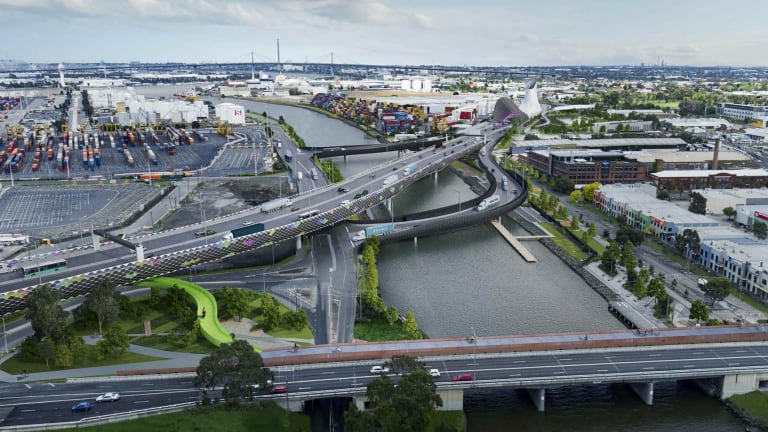 The new bridge over the Maribyrnong River, and the existing Shepherd Bridge and cycle path at the bottom of this image.