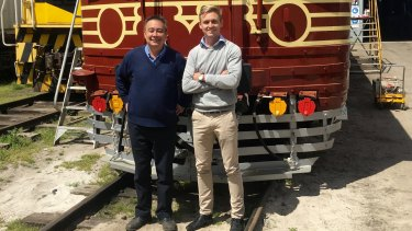 Tim Elderton (left), managing director of Lithgow Railway Workshop with Jeremy Holmes, development director Byron Bay Railroad Company.