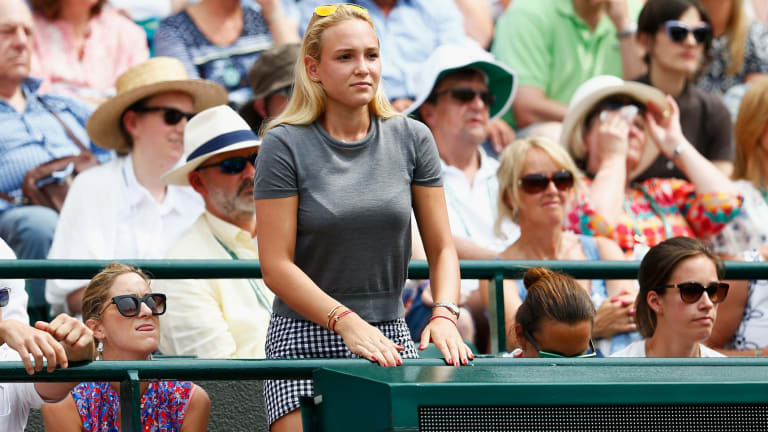 Kyrgios slur: Donna Vekic watches Stan Wawrinka in action at Wimbledon.
