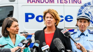 NSW Premier Gladys Berejiklian, NSW Roads Minister Melinda Pavey and Deputy Police Commissioner Catherine Burn.